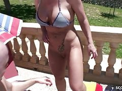 GERMAN MOM Fuck with Stranger at Pool on Holiday