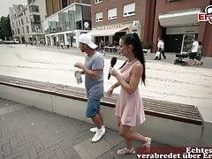 Germa skinny milf picks up guy on street at Casting