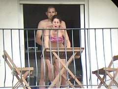 The neighbor gets fucked from all sides on the balcony